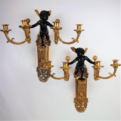 Pair Of Louis XVI Period Putti Sconces By André-antoine Ravrio, Late 18th Century