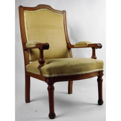 A Child's Armchair In Beech, Louis-philippe Period, Early 19th Century