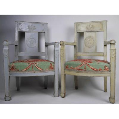 Pair Of Child's Armchairs,  Consulate Period, Early 19th Century
