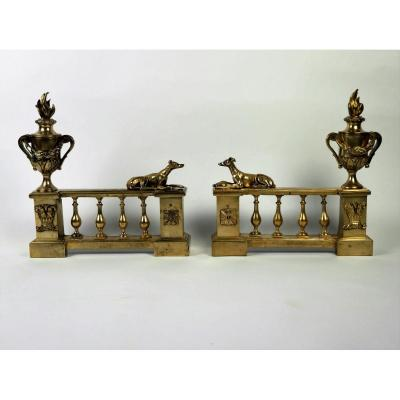 Pair Of Louis XVI Andirons, 18th Century