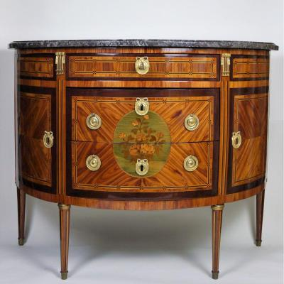 A Louis XVI Half-moon Commode By Vassou, 18th Century