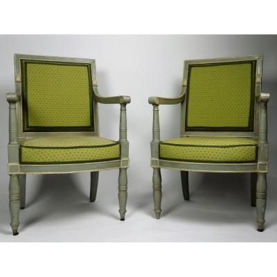 Pair Of Empire Armchairs By Demay, Early 19th Century