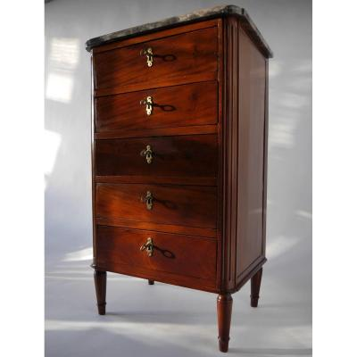 A Mahogany Chest Of Drawers Stamped By Aubry, Louis XVI Period, 18th Century