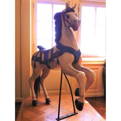 Carousel Horse In Polychromed Carved Wood, Art Deco Period, 20th Century