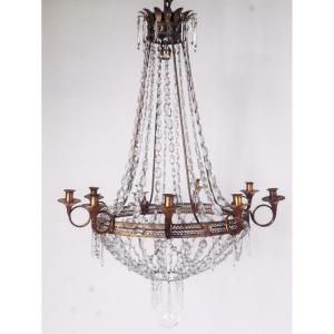 A Louis XVI Chandelier In Crystal And Sheet Metal, Circa 1800