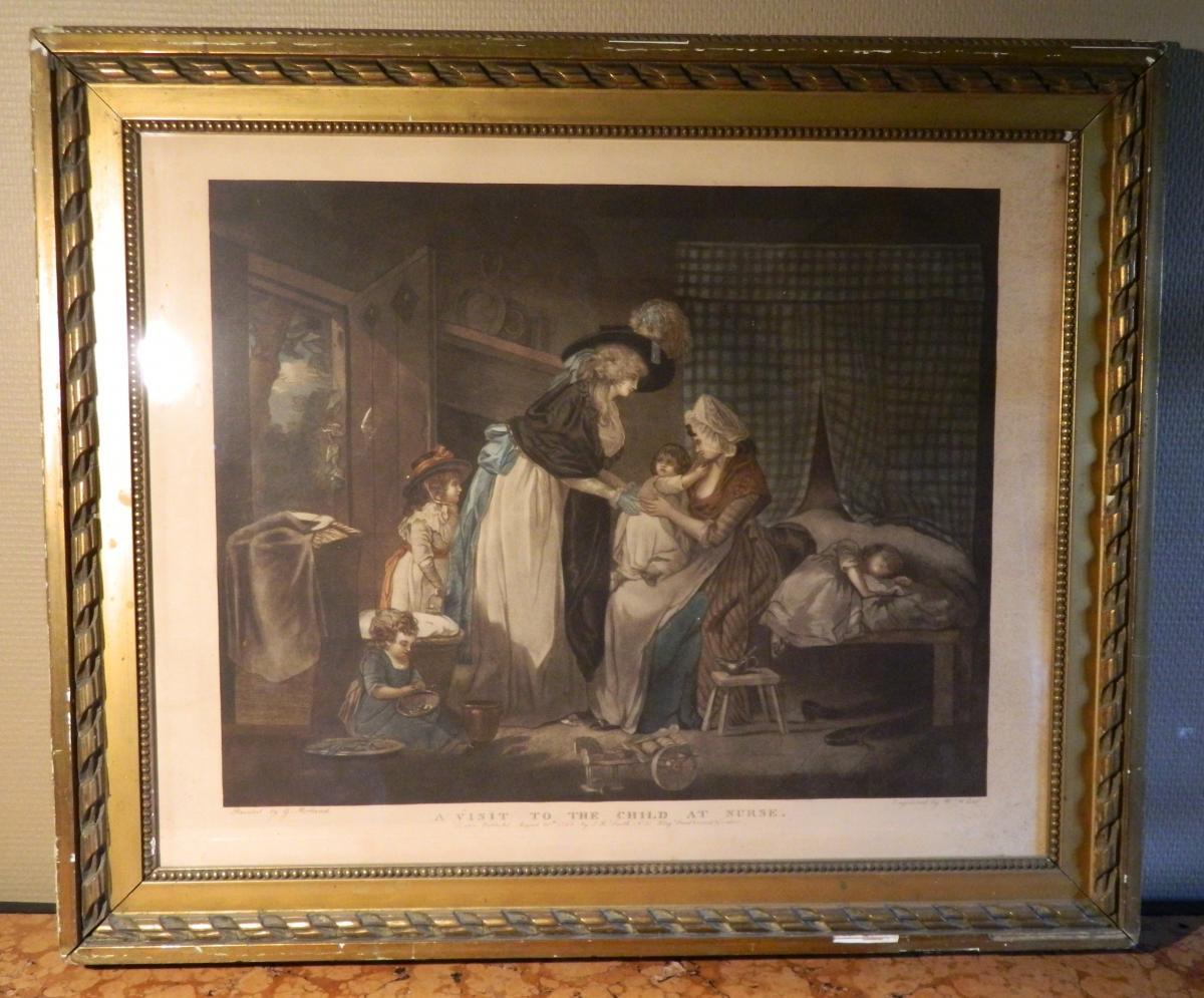 "William Ward ""a Visit To The Child At Nurse"", Gravure, 18ème Siècle"