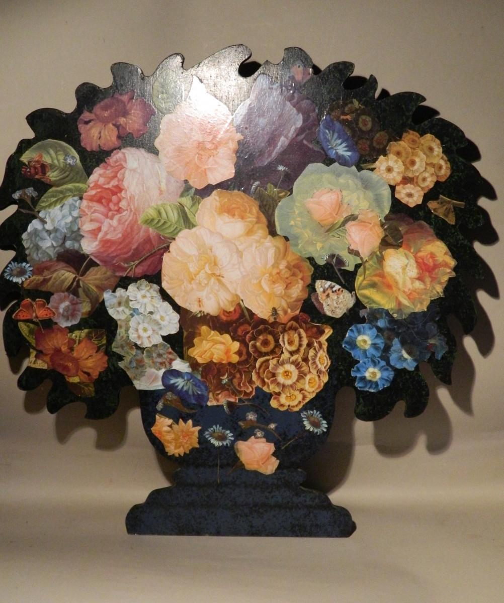 Bouquet Of Flowers. Collage On Panel, Around 1950