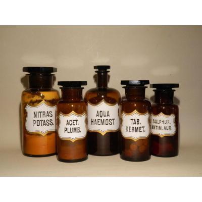 Lot De 5 Pots à Pharmacie en verre ambre Avec étiquettes émaillées