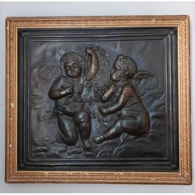 Copper Plate Framed With Two Putti / Cherubs, 19th Century