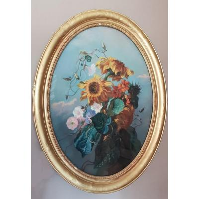 Bouquet Of Flowers. Pastel On Canvas. 19th Century.