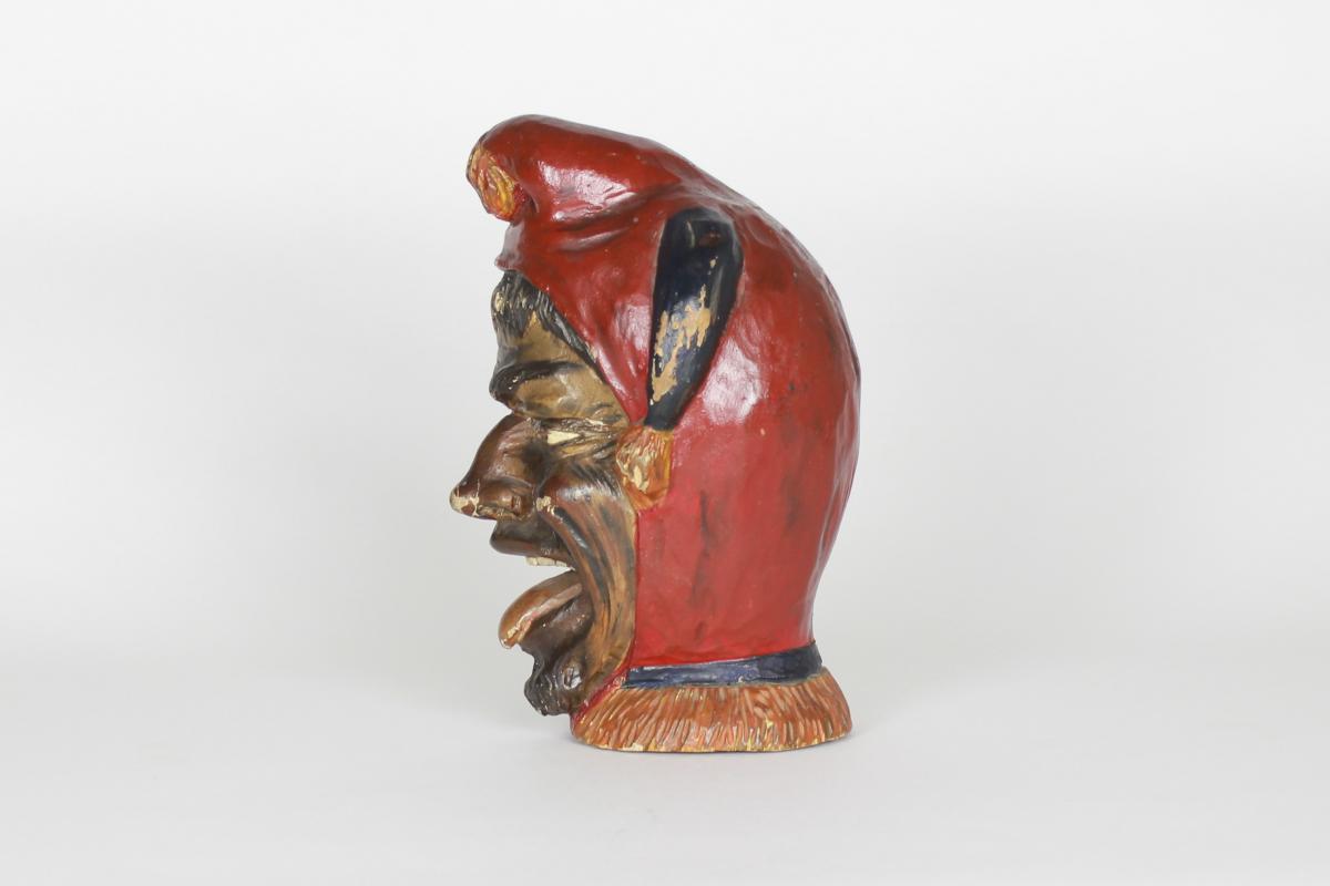 Sculpture Italienne En Bois Polychromé d'Un Bouffon ou Fou