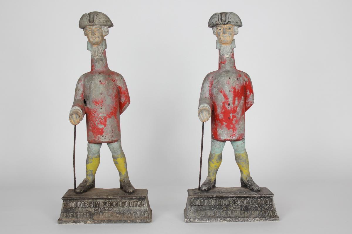 Paire De Statues Publicitaires En Zinq d'Une Brasserie Anglaise Fin 19eme