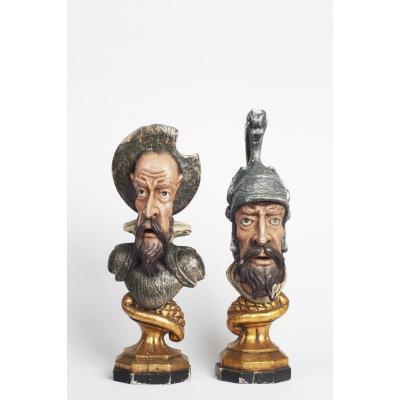 Paire De Bustes Espagnol Polychromé De Don Quichotte Et Sancho Panza