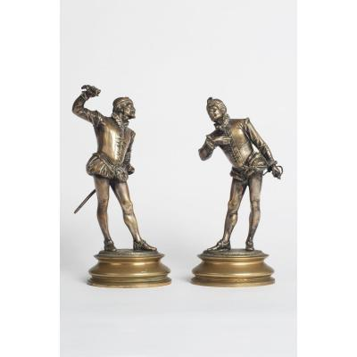 Paire De Duellistes En Bronze Doré Par Emile Guillemin