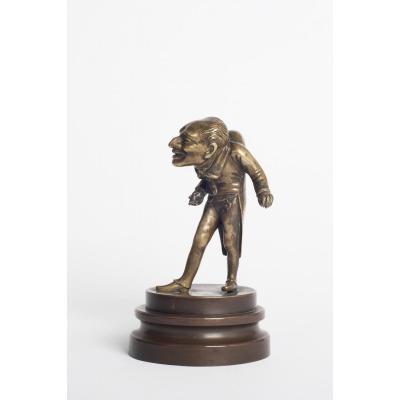 Sculpture En Bronze doré d'un  Bossu en Jacquet