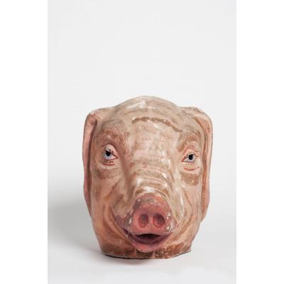 Ancien Masque De Carnaval En Papier Maché d'Un Cochon