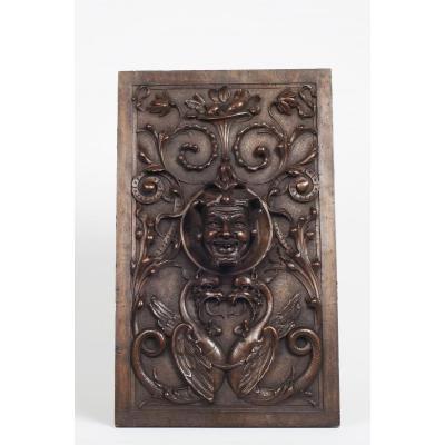 Panneau de la foret noire sculpté a la tete d'un Bouffon