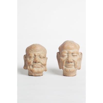 Paire De Tetes De Bouddha Buddha en pierre Periode Xianfeng