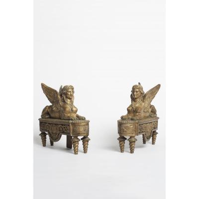 Paire De Chenets en Bronze Au Sphinges Style louis XVI