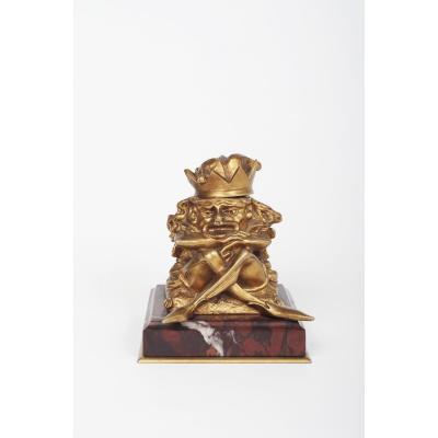 Encrier En Bronze En Forme d'Un Lutin Ou Gnome Grotesque Debut 20eme