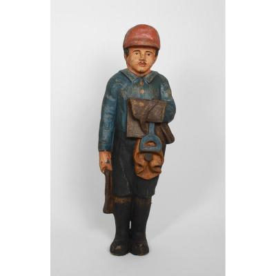 Grande Statue Foraine d'Un Jockey En Carton Bouilli debut 20