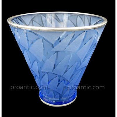 Vase Art Déco En Verre Bleu Et Argent Signé Kaza France