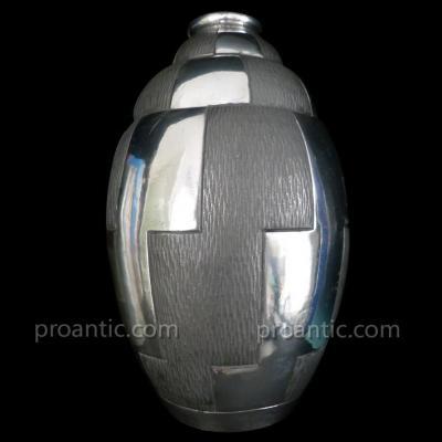Grand Vase étain Art Déco Moderniste Signé Petizon