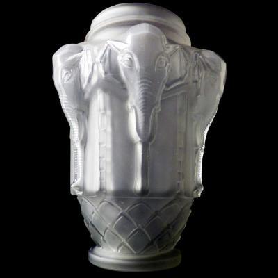 Vase Etling Aux éléphants Art Déco Grand Format