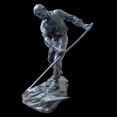 """""""la Moisson"""" Sculpture d'Un Faucheur En Bronze De Grande Taille (oscar Debeul)"""