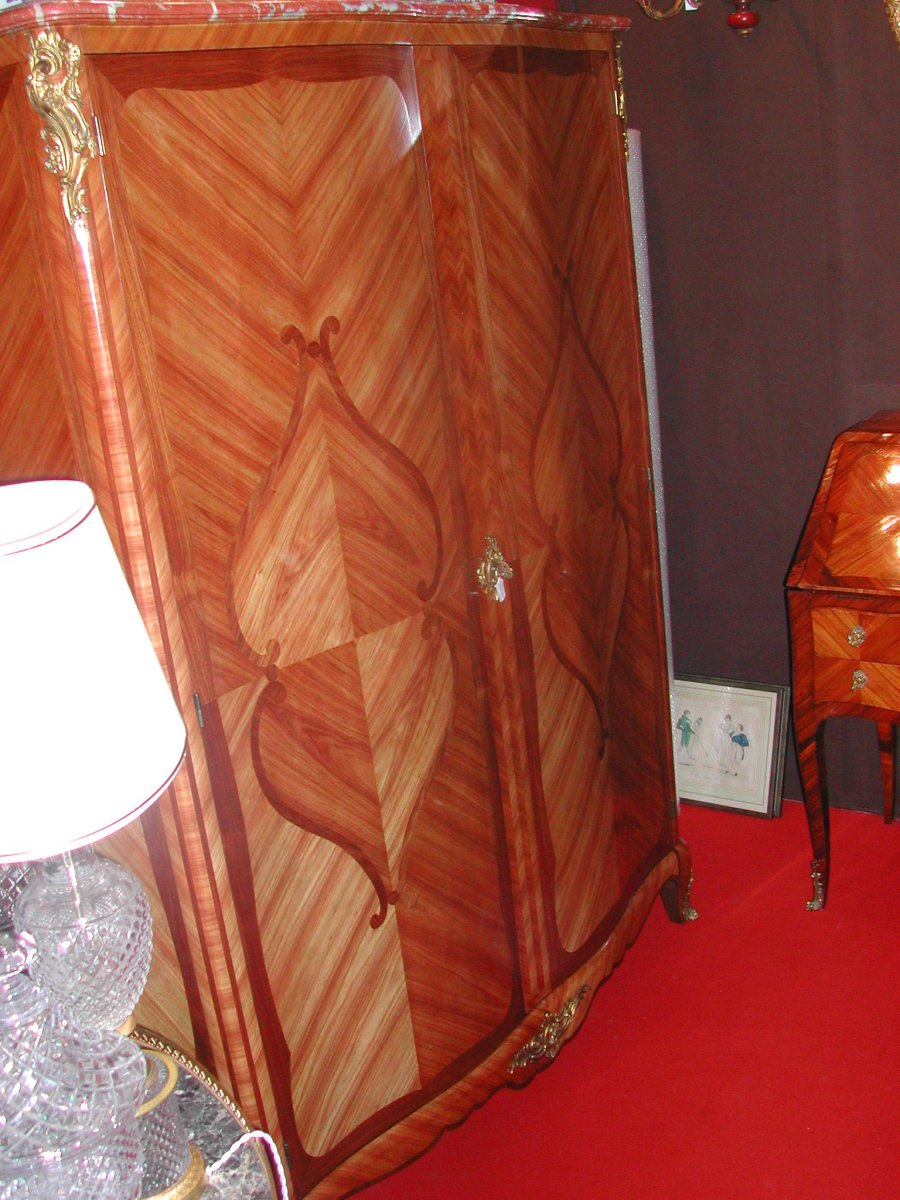 Louis XV Style Cabinet Marquetry-photo-2