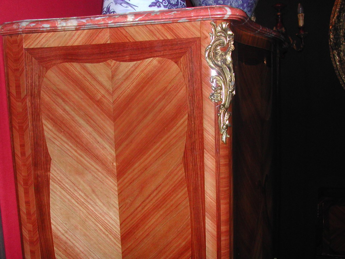 Louis XV Style Cabinet Marquetry-photo-3