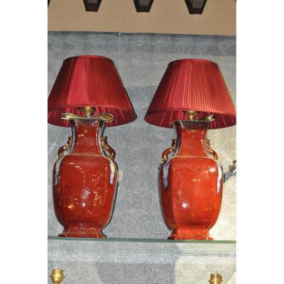 Paire De Lampe Sang De Boeuf Chine