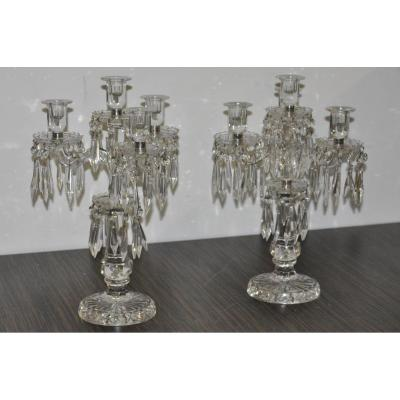 Pair Of Candelabra Crystal Portieux