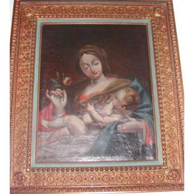Virgin And Child Maria 17th Italy Oil On Canvas