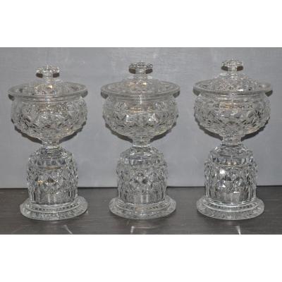 Triptyque De Drageoire En Cristal Periode Empire 19eme