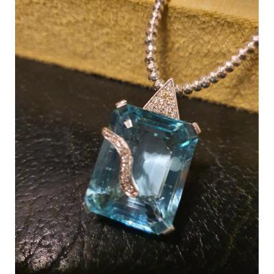 Pendentif Or Blanc Topaze Diamond
