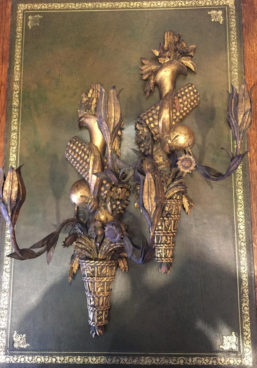 Pair Of Wood And Iron Appliques XVIII Century.