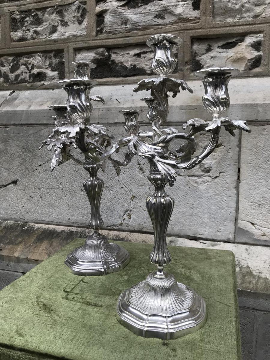 Paires de  Flambeaux,métal Plaqué ,XIX ème Siècle