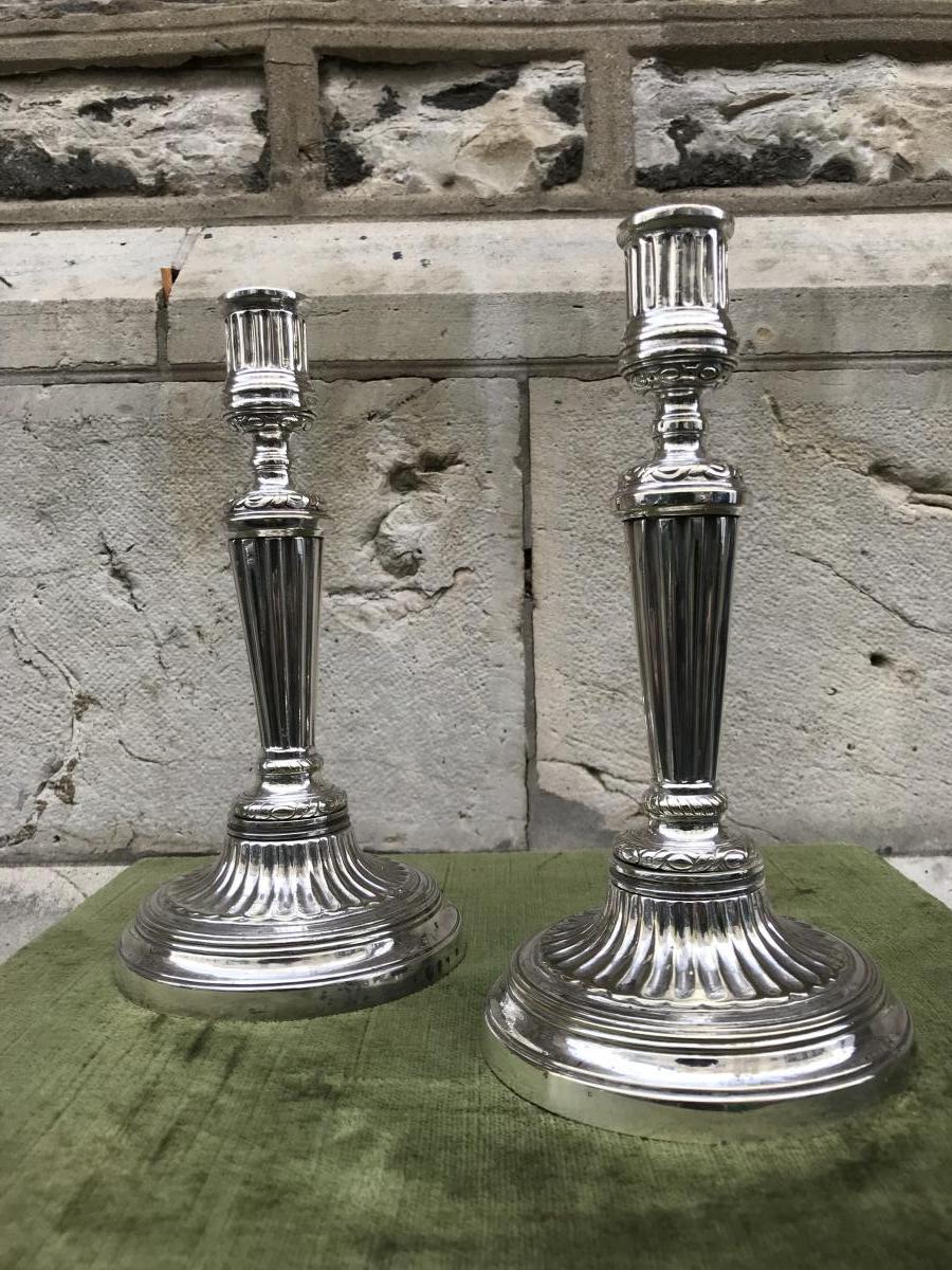 Paire De Bougeoirs,métal Plaqué,XVIII ème Siecle
