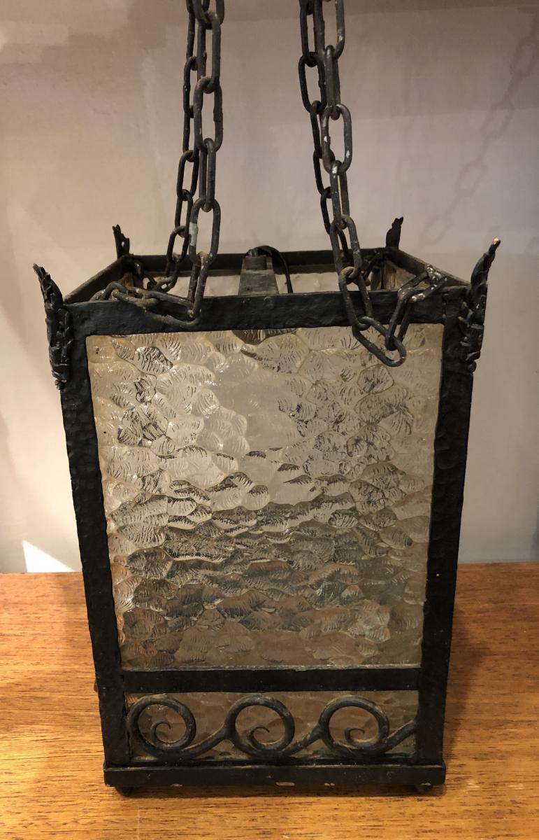 Lantern, Suspension, Art Deco, Wrought Iron, XX Th Century.