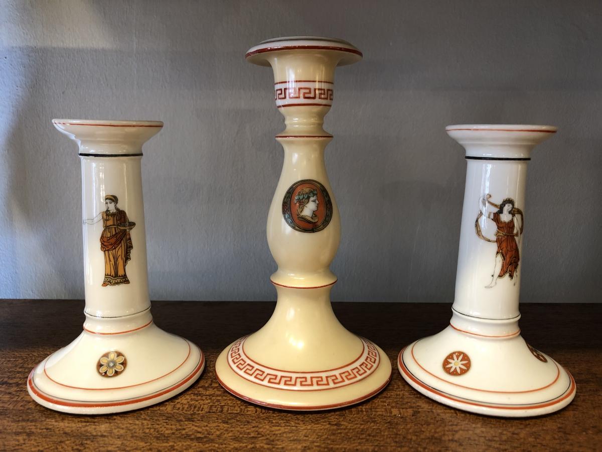Bougeoirs,porcelaine ,Paris,XIX ème Siècle