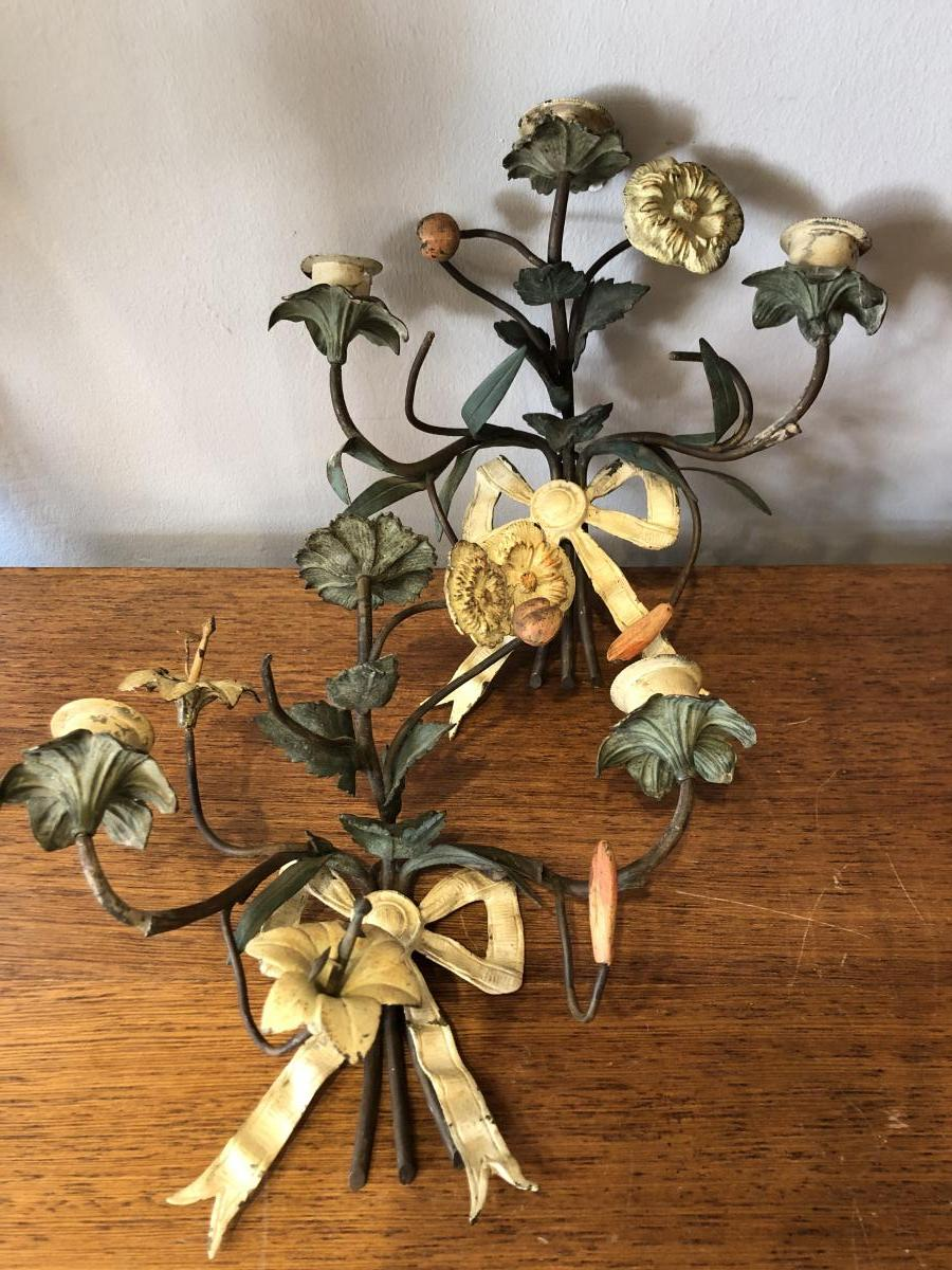Pair Of Appliques, Iron, Flowers, Nineteenth Century