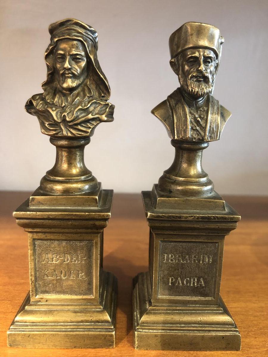 Paire de Bustes,Bronze,Ab-Del-kader,Ibrahim Pacha,XIXème Siècle