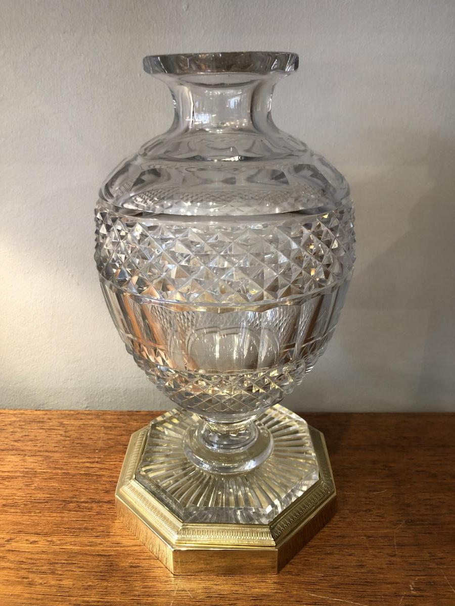 Vase Cristal taillé,bronze Doré,XIXème Siècle
