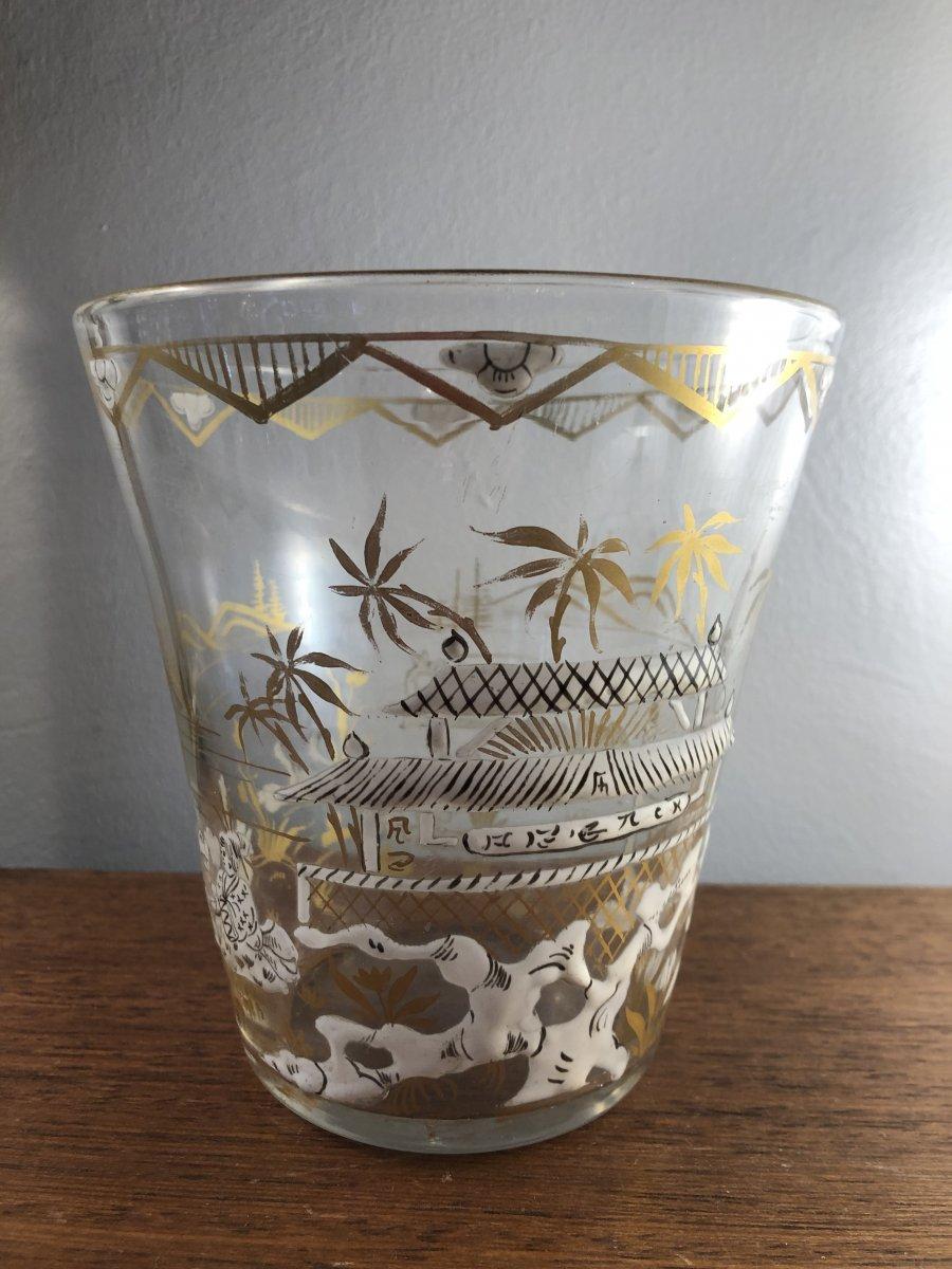 Seau à Raisin,cristal émaillé,XIXème Siècle