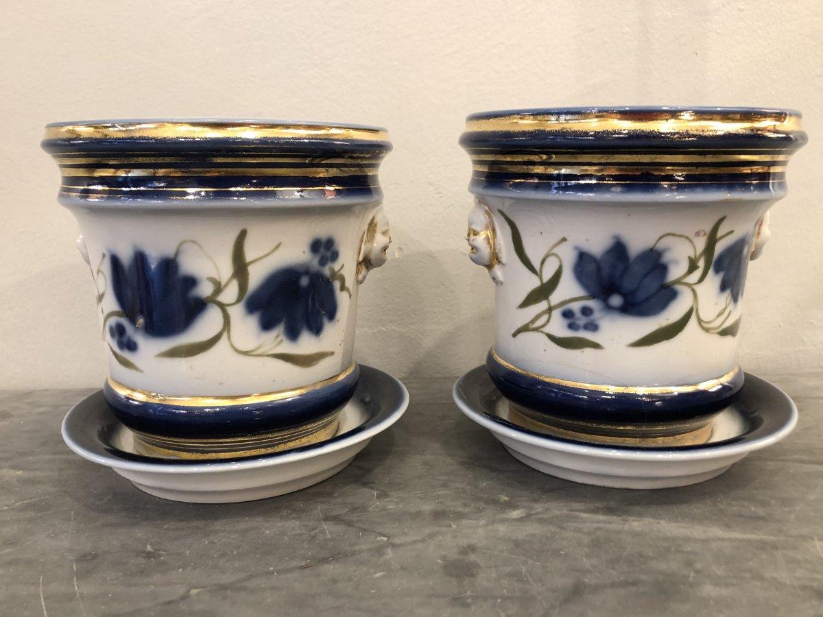 Paire de Cache Pots,porcelaine,XIXème  Siècle
