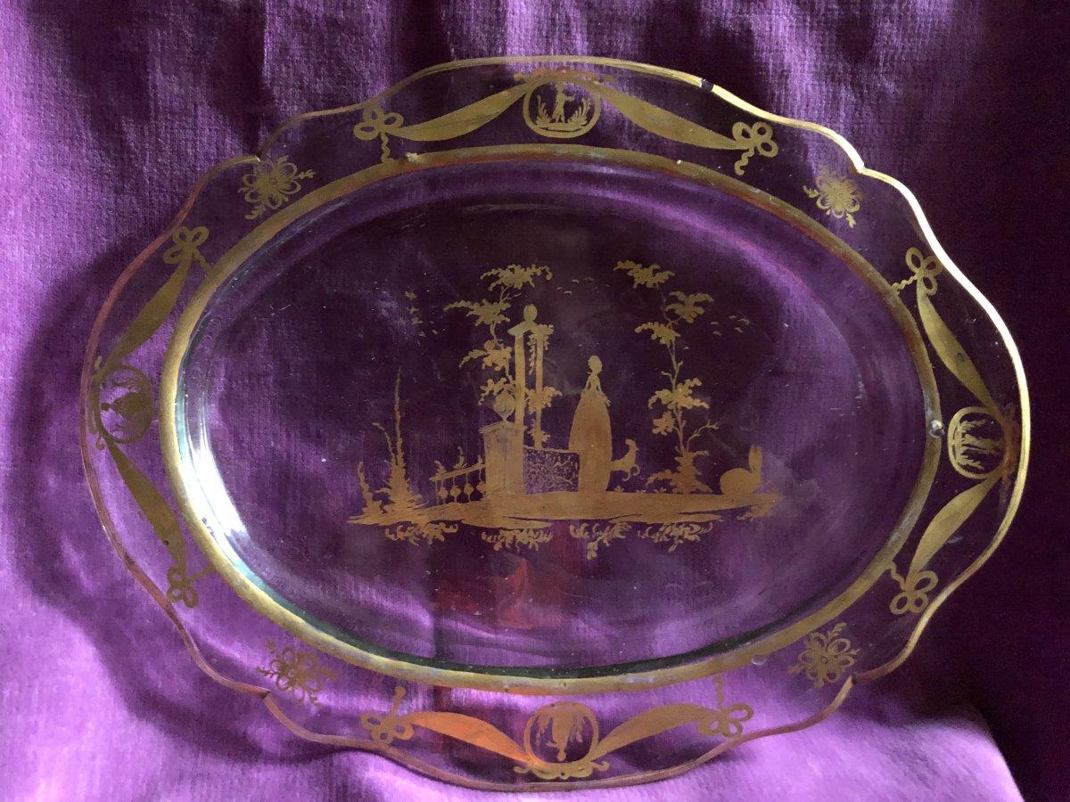 Plat,verre  ,décor à l'or,XVIIIème Siècle