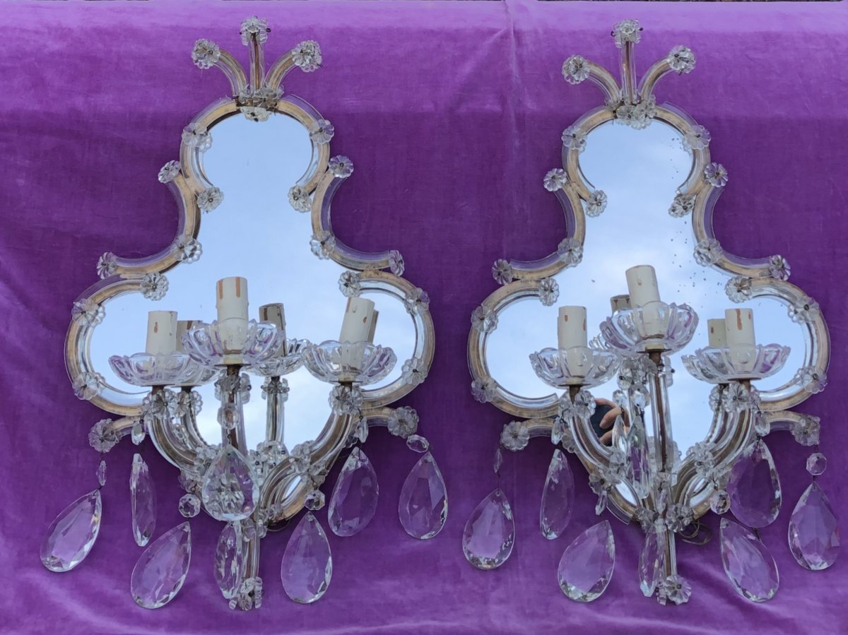 Pair Of Sconces, Crystal, Italy, Early XXth Century