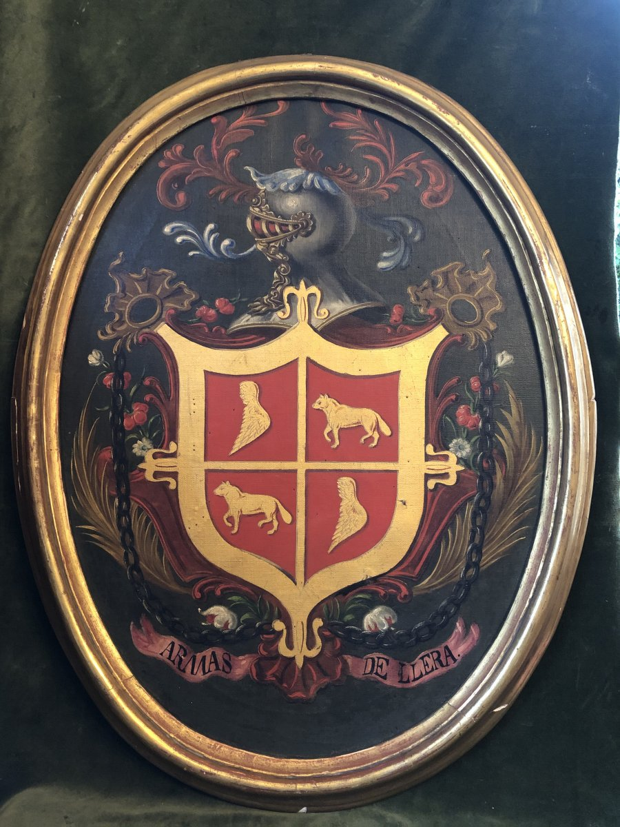 Table, Oil On Canvas, Coat Of Arms, Llera, Spain, 19th Century
