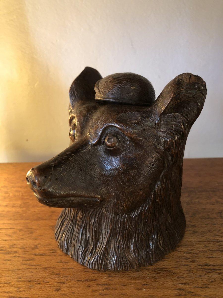Inkwell, Wood Dog Head, XIXth Century